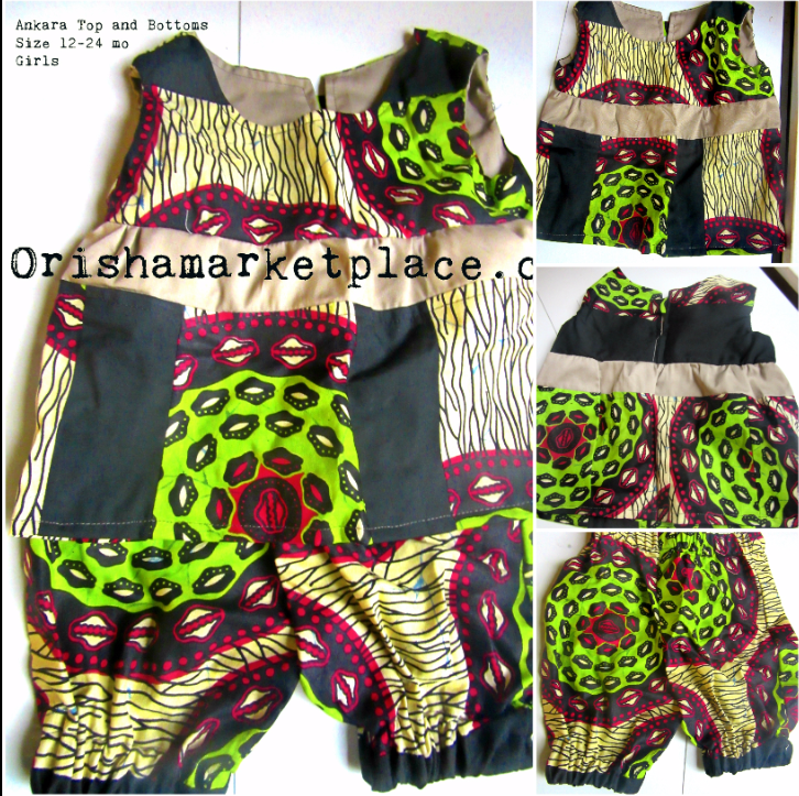 Ankara Girls Matching Top and Bottoms