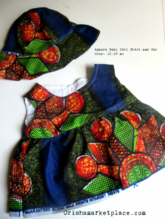 Ankara Baby Girl Shirt and Hat