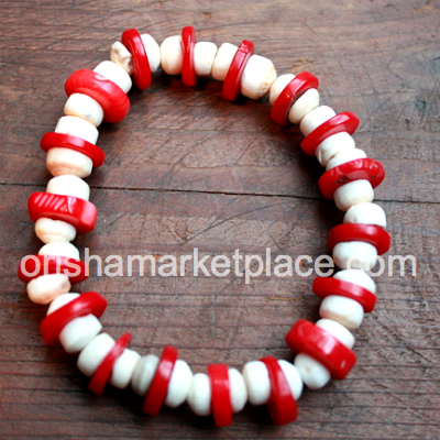 Coral and white sea shell beads