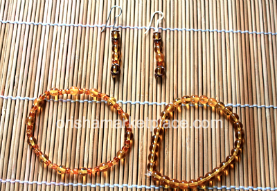 Osun Earrings and Wrist Beads Set